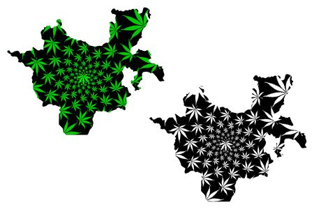 Southern Nations, Nationalities, and Peoples' Region (Federal Democratic Republic of Ethiopia) map is designed cannabis leaf green and black, SNNPR map made of marijuana (marihuana,THC) foliage
