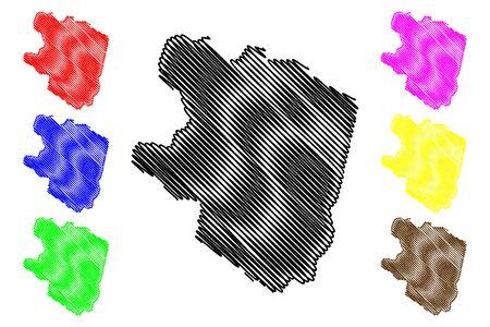Eastern Highlands Province (Independent State of Papua New Guinea, PNG, Provinces of Papua New Guinea) map vector illustration, scribble sketch Eastern Highlands map  イラスト・ベクター素材
