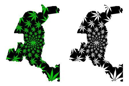 Haut-Katanga Province (Democratic Republic of the Congo, DR Congo, DRC, Congo-Kinshasa) map is designed cannabis leaf green and black, Haut Katanga map made of marijuana (marihuana,THC) foliage Illustration