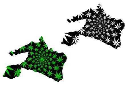 Mai-Ndombe Province (Democratic Republic of the Congo, DR Congo, DRC, Congo-Kinshasa) map is designed cannabis leaf green and black, Mai Ndombe map made of marijuana (marihuana,THC) foliage Ilustração