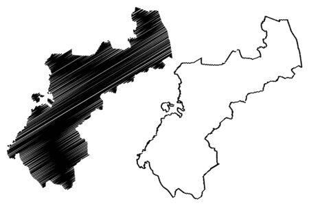 North Ostrobothnia Region (Republic of Finland) map vector illustration, scribble sketch North Ostrobothnia map