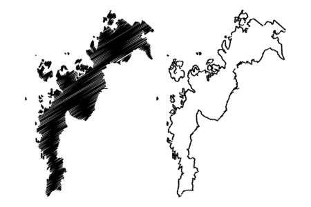 Ostrobothnia Region (Republic of Finland) map vector illustration, scribble sketch Ostrobothnia map Ilustração