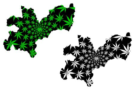 Caldas Department (Colombia, Republic of Colombia, Departments of Colombia) map is designed cannabis leaf green and black, Caldas map made of marijuana (marihuana,THC) foliage