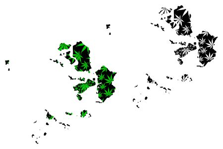 Incheon (South Korea, Republic of Korea, ROK) map is designed cannabis leaf green and black, Incheon Metropolitan City (Inchon) map made of marijuana (marihuana,THC) foliage