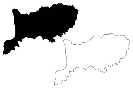 Rio Negro  Department (Departments of Uruguay, Oriental Republic of Uruguay) map vector illustration, scribble sketch Rio Negro map