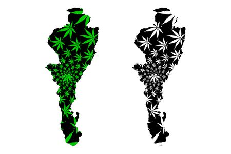 Cesar Department (Colombia, Republic of Colombia, Departments of Colombia) map is designed cannabis leaf green and black, Cesar map made of marijuana (marihuana,THC) foliage