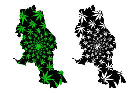 Norte de Santander Department (Colombia, Republic of Colombia, Departments of Colombia) map is designed cannabis leaf green and black, North Santander map made of marijuana (marihuana,THC) foliage