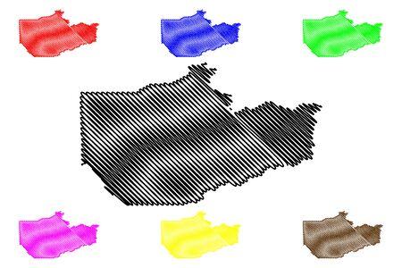 Fairbanks North Star Borough, Alaska (Boroughs and census areas in Alaska, United States of America,USA, U.S., US) map vector illustration, scribble sketch Fairbanks map