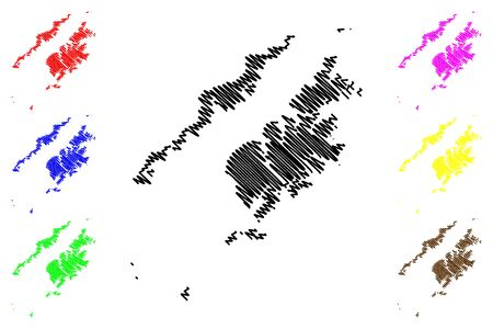 Kodiak Island Borough, Alaska (Boroughs and census areas in Alaska, United States of America,USA, U.S., US) map vector illustration, scribble sketch Kodiak Island map Stock Illustratie