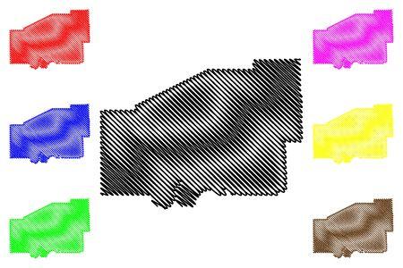 Matanuska-Susitna Borough, Alaska (Boroughs and census areas in Alaska, United States of America,USA, U.S., US) map vector illustration, scribble sketch Mat-Su Borough map Stock Illustratie