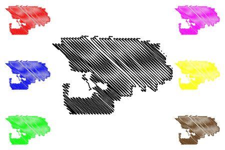 Northwest Arctic Borough, Alaska (Boroughs and census areas in Alaska, United States of America,USA, U.S., US) map vector illustration, scribble sketch Northwest Arctic map