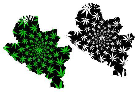 Narino Department (Colombia, Republic of Colombia, Departments of Colombia) map is designed cannabis leaf green and black, Narino map made of marijuana (marihuana,THC) foliage Ilustração