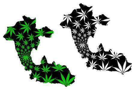 Risaralda Department (Colombia, Republic of Colombia, Departments of Colombia) map is designed cannabis leaf green and black, Risaralda map made of marijuana (marihuana,THC) foliage