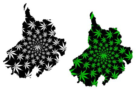 Santander Department (Colombia, Republic of Colombia, Departments of Colombia) map is designed cannabis leaf green and black, Santander map made of marijuana (marihuana,THC) foliage Illustration