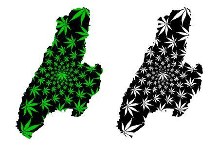 Tolima Department (Colombia, Republic of Colombia, Departments of Colombia) map is designed cannabis leaf green and black, Tolima map made of marijuana (marihuana,THC) foliage Ilustração