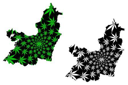 Valle del Cauca Department (Colombia, Republic of Colombia, Departments of Colombia) map is designed cannabis leaf green and black, Valle del Cauca map made of marijuana (marihuana,THC) foliage