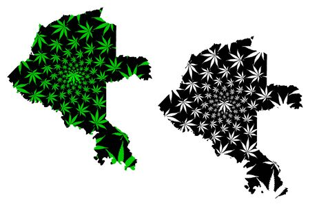 Vaupes Department (Colombia, Republic of Colombia, Departments of Colombia) map is designed cannabis leaf green and black, Vaupes map made of marijuana (marihuana,THC) foliage Ilustração
