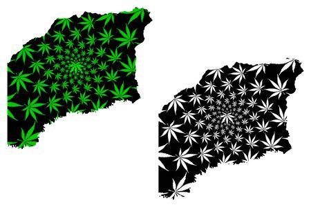 Vichada Department (Colombia, Republic of Colombia, Departments of Colombia) map is designed cannabis leaf green and black, Vichada map made of marijuana (marihuana,THC) foliage