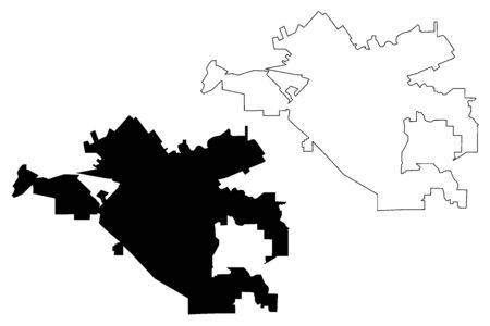 Corona City (United States cities, United States of America, usa city) map vector illustration, scribble sketch City of Corona map Stock Illustratie