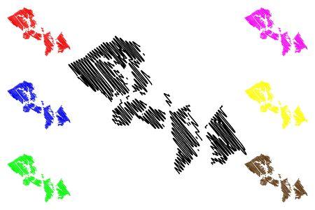 Hoonah–Angoon Census Area, Alaska (Boroughs and census areas in Alaska, United States of America,USA, U.S., US) map vector illustration, scribble sketch Hoonah Angoon map Ilustração