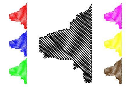 Southeast Fairbanks Census Area, Alaska (Boroughs and census areas in Alaska, United States of America,USA, U.S., US) map vector illustration, scribble sketch Southeast Fairbanks map Stock Illustratie