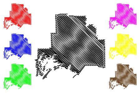 Valdez–Cordova Census Area, Alaska (Boroughs and census areas in Alaska, United States of America,USA, U.S., US) map vector illustration, scribble sketch Valdez Cordova map