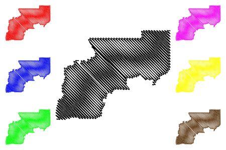 Yukon–Koyukuk Census Area, Alaska (Boroughs and census areas in Alaska, United States of America,USA, U.S., US) map vector illustration, scribble sketch Yukon Koyukuk map Stock Illustratie