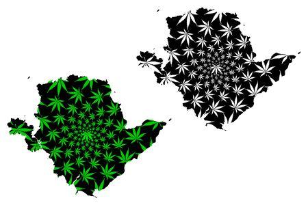 Anglesey (United Kingdom, Wales, Cymru, Principal areas of Wales) map is designed cannabis leaf green and black, Isle of Anglesey map made of marijuana (marihuana,THC) foliage