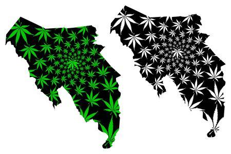 Blaenau Gwent (United Kingdom, Wales, Cymru, Principal areas of Wales) map is designed cannabis leaf green and black, Blaenau Gwent County Borough map made of marijuana (marihuana,THC) foliage