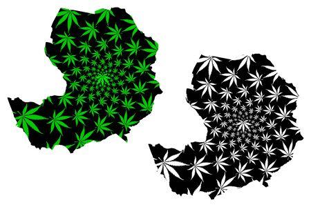 Bridgend (United Kingdom, Wales, Cymru, Principal areas of Wales) map is designed cannabis leaf green and black, Bridgend County Borough map made of marijuana (marihuana,THC) foliage