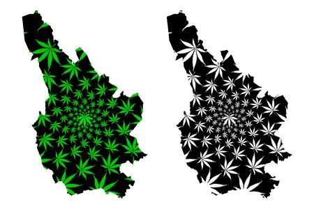 Caerphilly (United Kingdom, Wales, Cymru, Principal areas of Wales) map is designed cannabis leaf green and black, Caerphilly County Borough map made of marijuana (marihuana,THC) foliage