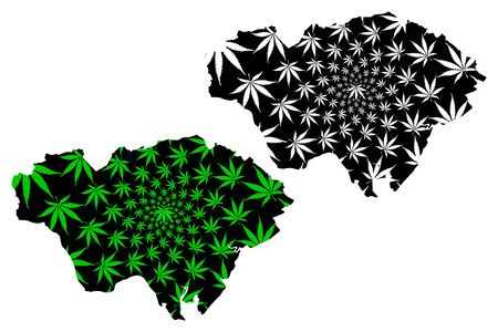 Cardiff (United Kingdom, Wales, Cymru, Principal areas of Wales) map is designed cannabis leaf green and black, City and County of Cardiff map made of marijuana (marihuana,THC) foliage Stock Illustratie