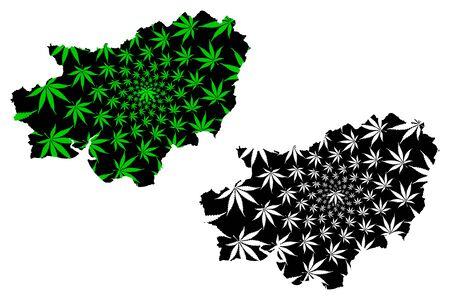 Carmarthenshire (United Kingdom, Wales, Cymru, Principal areas of Wales) map is designed cannabis leaf green and black, County of Carmarthenshire map made of marijuana (marihuana,THC) foliage Stock Illustratie