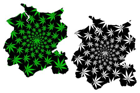 Conwy County Borough (United Kingdom, Wales, Cymru, Principal areas of Wales) map is designed cannabis leaf green and black, Conwy map made of marijuana (marihuana,THC) foliage