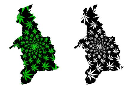 Denbighshire (United Kingdom, Wales, Cymru, Principal areas of Wales) map is designed cannabis leaf green and black, Denbighshire map made of marijuana (marihuana,THC) foliage