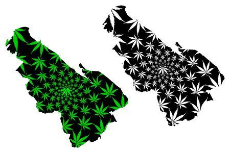 Flintshire (United Kingdom, Wales, Cymru, Principal areas of Wales) map is designed cannabis leaf green and black, Flintshire map made of marijuana (marihuana,THC) foliage Stock Illustratie