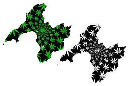 Gwynedd (United Kingdom, Wales, Cymru, Principal areas of Wales) map is designed cannabis leaf green and black, Gwynedd map made of marijuana (marihuana,THC) foliage