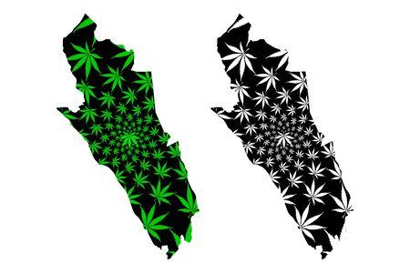 Merthyr Tydfil County Borough (United Kingdom, Wales, Cymru, Principal areas of Wales) map is designed cannabis leaf green and black, Merthyr Tydfil map made of marijuana (marihuana,THC) foliage