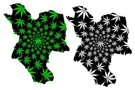 Neath Port Talbot (United Kingdom, Cymru, Principal areas of Wales) map is designed cannabis leaf green and black, Neath Port Talbot County Borough map made of marijuana (marihuana,THC) foliage