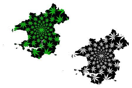 Pembrokeshire (United Kingdom, Wales, Cymru, Principal areas of Wales) map is designed cannabis leaf green and black, Pembrokeshire map made of marijuana (marihuana,THC) foliage