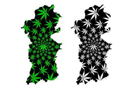 Powys (United Kingdom, Wales, Cymru, Principal areas of Wales) map is designed cannabis leaf green and black, County of Powys map made of marijuana (marihuana,THC) foliage