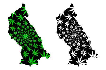 Rhondda Cynon Taf (United Kingdom, Cymru, Principal areas of Wales) map is designed cannabis leaf green and black, Rhondda Cynon Taf County Borough map made of marijuana (marihuana,THC) foliage