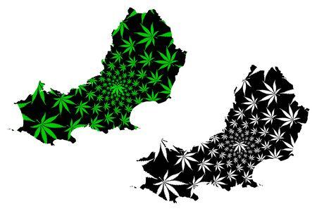 Swansea Cynon Taf (United Kingdom, Wales, Cymru, Principal areas of Wales) map is designed cannabis leaf green and black, City and County of Swansea map made of marijuana (marihuana,THC) foliage Stock Illustratie