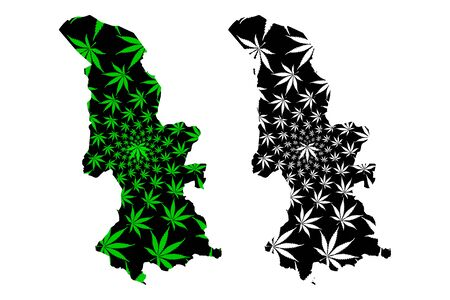 Torfaen (United Kingdom, Wales, Cymru, Principal areas of Wales) map is designed cannabis leaf green and black, Torfaen County Borough map made of marijuana (marihuana,THC) foliage