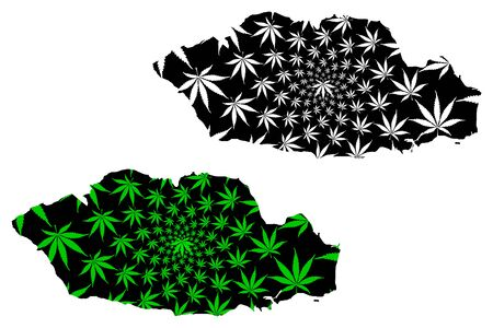 Vale of Glamorgan (Cymru, Principal areas of Wales) map is designed cannabis leaf green and black, Vale of Glamorgan County Borough (The Vale) map made of marijuana (marihuana,THC) foliage