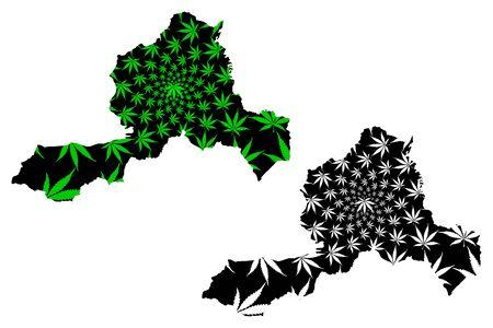Wrexham (United Kingdom, Wales, Cymru, Principal areas of Wales) map is designed cannabis leaf green and black, Wrexham County Borough map made of marijuana (marihuana,THC) foliage