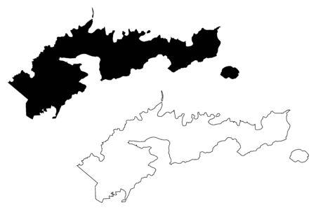 Eastern District, American Samoa (Unincorporated and unorganized U.S. territory, United States of America) map vector illustration, scribble sketch Western Samoa (Tutuila, Aunuu island) map