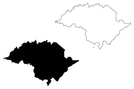 Western District, American Samoa (Unincorporated and unorganized U.S. territory, United States of America) map vector illustration, scribble sketch Western Samoa (Tutuila island) map Stock Illustratie