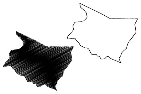 Cartago Province (Republic of Costa Rica, Administrative divisions of Costa Rica) map vector illustration, scribble sketch Cartago map