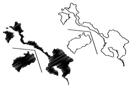 Puntarenas Province (Republic of Costa Rica, Administrative divisions of Costa Rica) map vector illustration, scribble sketch Cocos Island map